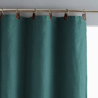 Private Pre-Washed Linen Single Curtain with Leather Tabs