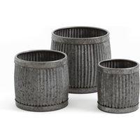 GLOBOSA Zinc Stacking Flowerpots (Set of 3)