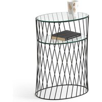 Elori Metal and Glass Bedside Table