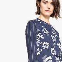 T-shirt Fantasia blu donna T-shirt doppia fantasia righe e fiori