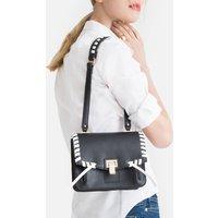 Contrast Trim Faux Leather Handbag