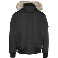 Tech Bomber Jacket with Faux Fur Hood and Pockets