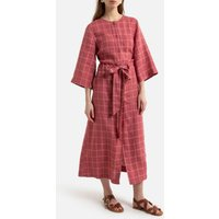 Checked Linen Midi Shirt Dress with Crew Neck