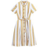Linen Mix Striped Tie-Waist Shirt Dress