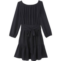 shop for Knee-Length Tie-Waist Dress with Long Sleeves at Shopo