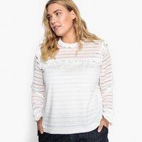 T-shirt avorio donna T-shirt effetto camicetta collo alto maniche lunghe