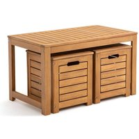 Garden Acacia Bench and Storage Chests