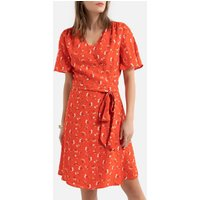 shop for Floral Mini Wrapover Dress with Short Sleeves and Tie-Waist at Shopo