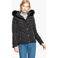 Short Padded Down Jacket with Faux Fur Hood and Pockets