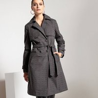 Water-Repellent Checked Trench Coat