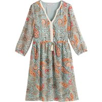 Knee-Length Smock Dress in Paisley Print, Made in France
