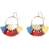 Metal Earrings with Coloured Tassel Trim