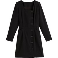 shop for Buttoned Square Neck Dress with Long Sleeves at Shopo