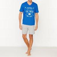 Pigiami Blu + grigio chiné uomo Pigiama corto con scollo a V in jersey puro cotone