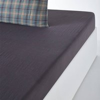 Check Cotton Muslin Fitted Sheet