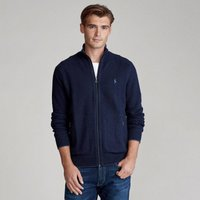 Pima Cotton Zip-Up Cardigan with High-Neck