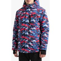 Camouflage Print Snowboard Jacket with Hood and Pockets