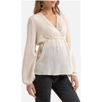 shop for Maternity Wrapover Blouse with Long Sleeves at Shopo