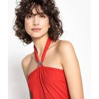 T-shirt rosso donna T-shirt schiena scoperta collo gioiello da annodare