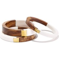 Set of 3 Metal and Wooden Bangles