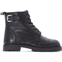 Kids Leather Lace-Up Boots with Buckle