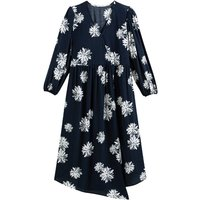 shop for Floral Asymmetric Wrapover Midi Dress with 3/4 Length Sleeves at Shopo