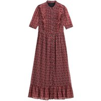 shop for Ruffled Boho Midaxi Dress in Floral Print with Short Sleeves and Buttons at Shopo