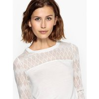 Crew Neck T-Shirt with Lace Neck and Sleeves