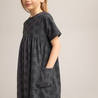 Broderie Anglaise Cotton Dress with Short Sleeves, 3-12 Years