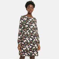 Pear Print Mini Smock Dress with Long Sleeves