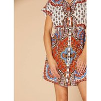 Printed Cotton/Linen Mini Dress with Buttons, Short Sleeves and Tie-Waist