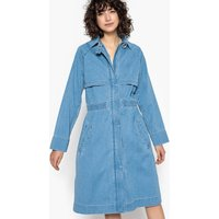 Loose Fit Denim Trench Coat with Zip Concealed under Placket