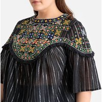 shop for Embroidered Striped Metallic Boho Blouse at Shopo