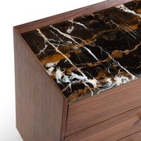 Noham XL Bedside Table Walnut & Marble