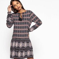 Mix Print Dress with Tassels & Ruffles