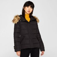 Short Padded Jacket with Faux Fur Hood and Pockets
