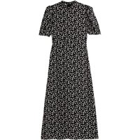 shop for Floral Print Midaxi Dress with High-Neck and Puff Sleeves at Shopo