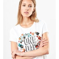 'One Day' Floral-Print T-Shirt