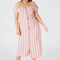 Cotton/Linen Striped Midi Dress with Off-the-Shoulder Neck