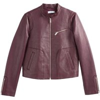 Leather Cropped Bomber Jacket with Pockets