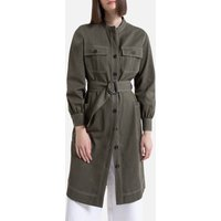 shop for Military Button-Through Shirt Dress in Cotton Mix with Long Sleeves at Shopo