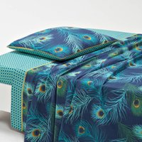 Shakhra Peacock Print Cotton Percale Flat Sheet