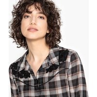 Checked Shirt with Floral Embroidery