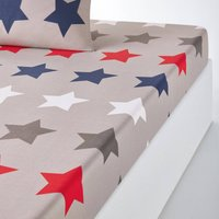 Stars Printed Cotton Fitted Sheet