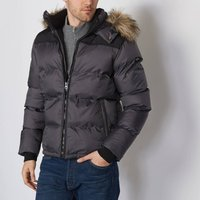 2190J Warm Padded Jacket with Faux Fur Hood and Pockets