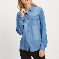 Denim Fitted Shirt with Long Sleeves and Pockets.