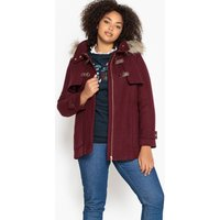 Wool Mix Duffle Coat with Faux Fur Hood