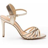 Ajili/Me Gold-Coloured Leather Stiletto Heel Sandals