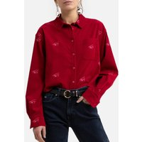 Printed Cotton Cropped Shirt with Long Sleeves.