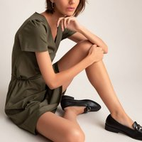 Organic Cotton Mini Dress with V-Neck and Short Sleeves